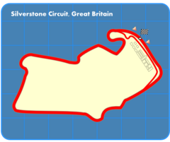 Route of the Silverstone Circuit as laid out for the British Grand Prix